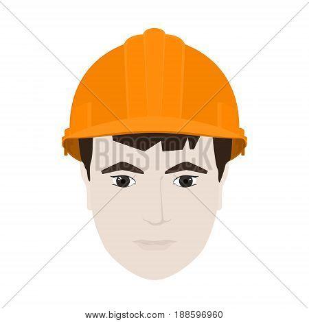 Working Man in a Hard Hat Man's Face in Orange Safety Helmet on White Background Vector Illustration
