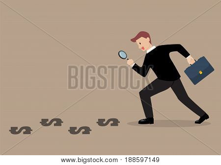 Detective businessman finding money. Business concept vector illustration