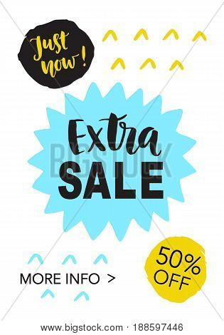 Extra Sale mobile banner template for online shopping. Vector design element, isolated on white.