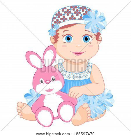 little girl in a pink dress with a bow sitting with a Bunny