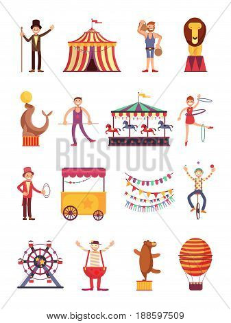 Carnival and circus cartoon fun characters. Fair carousel and amusement park elements vector collection. Carnival circus cartoon, illustration of air balloon and clown