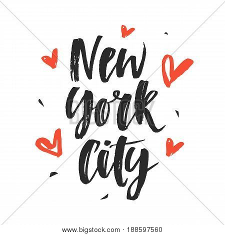 New York City. Modern hand written brush lettering, isolated on white background. Ink calligraphy. Tee shirt print, typography card, poster design. Vector illustration.