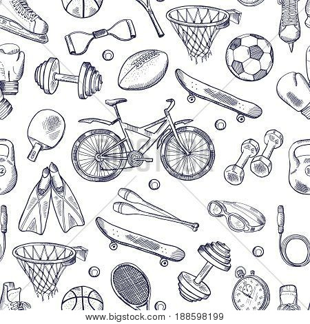 Vector doodles hand drawn seamless pattern of different sport accessories. Sport sketch pattern, soccer and football ball, swimming and boxing sport illustration