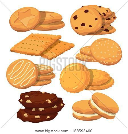 Different cookies in cartoon style. Vector icons set isolate on white, Collection of sweet biscuit homemade illustration