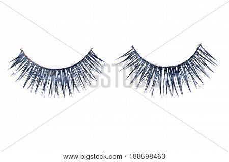 Two false black eyelashes isolated on white background.