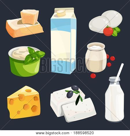 Vector illustration of different milk products. Cartoon style pictures isolate on white. Fresh healthy dairy nutrition, bottle of yogurt and cottage cheese