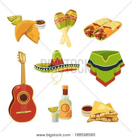Traditional mexican cuisine food and other different national elements. Vector illustrations in cartoon style. Food mexican and national tequila and burrito