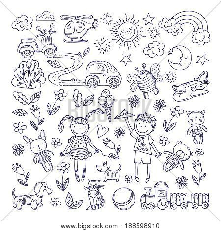 Children dreams. Vector hand drawn illustration of boy and girl. Pets and different toys. Helicopter hand drawn, cartoon toys and animal