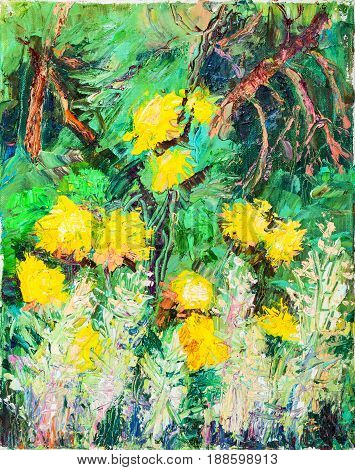 Yellow flowers with the wormwood in garden