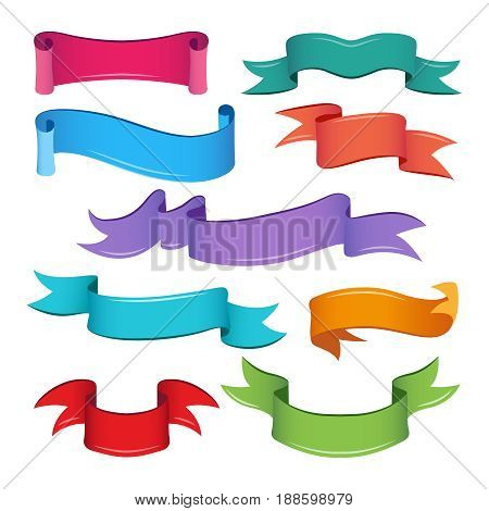 Empty cartoon ribbons and banners. Vector illustrations for ui game. Colored ribbon banner group for game ui