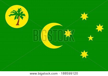 Vector national flag of Cocos Keeling Islands. Patriotic sign in official country color and moon, star and palm. Special Administrative External Territory of Australia. Vector icon illustration