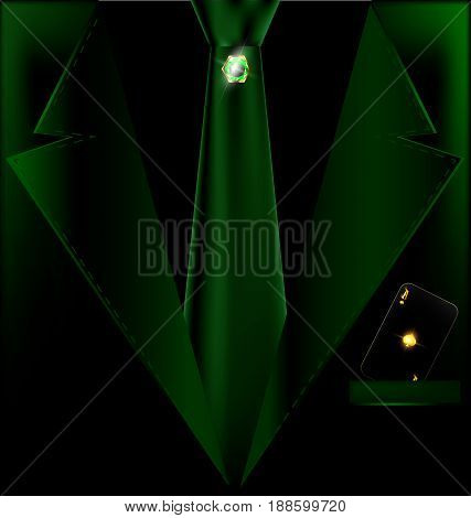 the image of mans green suit with dark card of golden ace in pocket and tie with jewelry pin