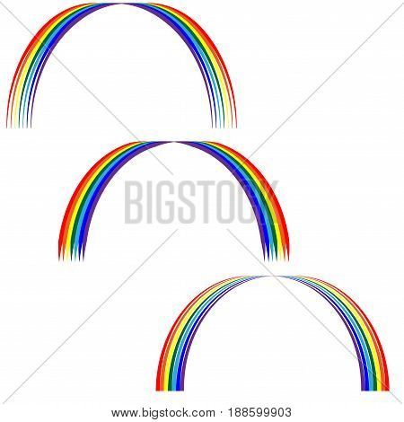 Rainbow sign set. Colorfur arc symbol. Multicolor icon isolated on white background. Spectrum flat mark. Spring or summer love concept. Modern art scoreboard. Stock vector illustration
