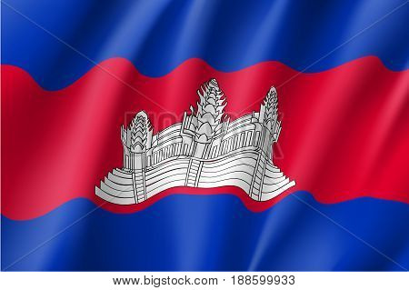 Waving flag ofKingdom of Cambodia. Cambodian patriotic sign in official national country color and emblem. Symbol of Southeast Asia state. Vector icon illustration