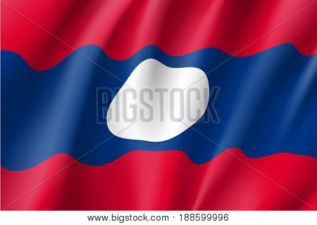 Waving flag of Laos. Patriotic sign of Lao People s Democratic Republic in official national country color and laotian emblem. Symbol of Southeast Asia state. Vector icon illustration