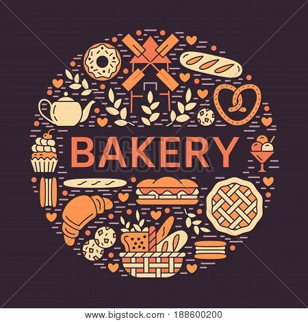 Bakery, bread house poster template. Vector food glyph icons, illustration of sweets, pretzel croissant, muffin, pastry, cupcake pie, mill. Confectionery products banner with place for text.