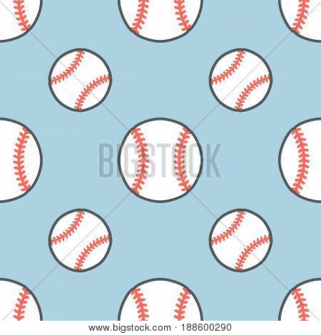 Baseball, softball sport game vector seamless pattern, background with line icons of balls. Linear signs for championship, equipment store.