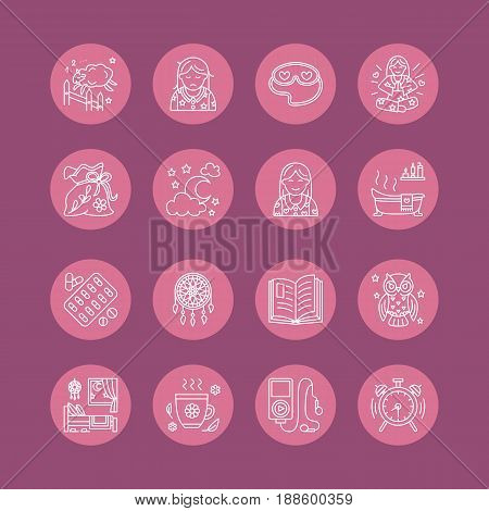Modern vector line icon of insomnia problem and healthy sleep. Clock, pillow, pills, dream catcher, counting sheep. Linear pictogram in circle with editable stroke for sites, medical brochure.