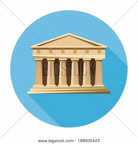 Bank, courthouse, parthenon architecture greek temple icon isolated on white background. Vector illustration flat architecture design. Building ancient monument symbol icon. Column pillar landmark