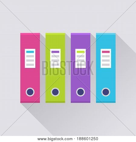 Ring binder in a row, file folder in pink, green, purple and blue color, office supply set. Vector flat style cartoon illustration with long shadow on gray background. Business concept