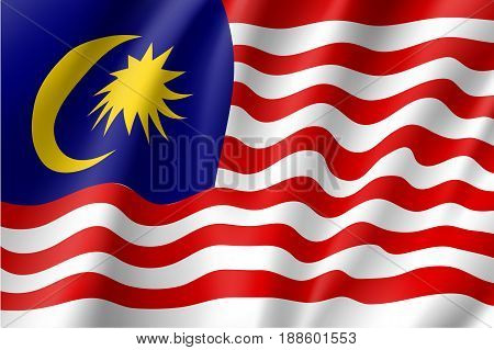 Waving flag of Malaysia is a member of Asean Economic Community AEC . Patriotic sign in official national country colors. Symbol of Southeast Asia state. Vector icon illustration