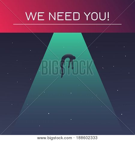 UFO beam of light abducts person against the night sky. We need you concept. Vector illustration in flat style