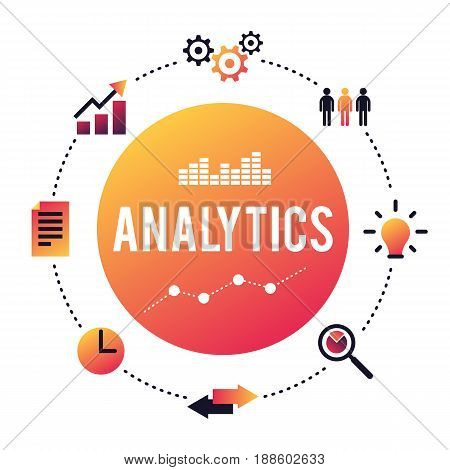 Business Analytics concept. Data analysis, global SEO Analytics, schedule of financial studies. Vector illustration in trendy style isolated on white background