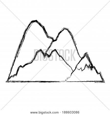 blurred thick silhouette of hill with peak snowy vector illustration