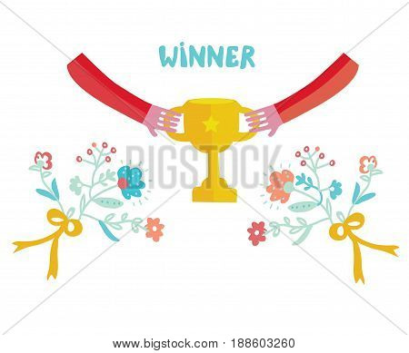 Winner cup illustration with cute design and flowers - vector graphic