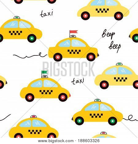 Taxi seamless pattern illustration in cartoon style vector graphic