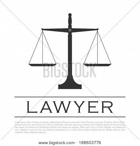 Justice scales icon. Sign for a lawyer or notary company. Vector illustration isolated on white background
