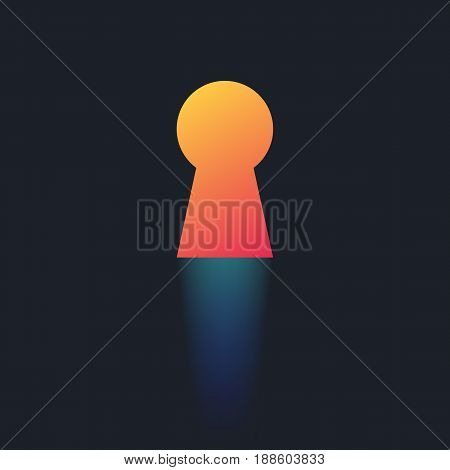 Key hole with glow effect. Template for business concept. Vector illustration in trendy style