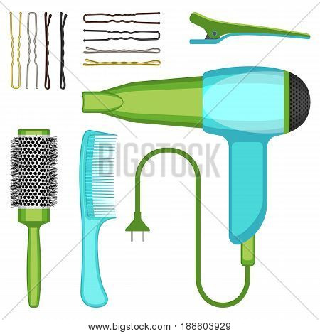 Set of hairdressing tools vector illustration isolated on white background. Professional hairbrushes, hairdryer and bobby pins icons