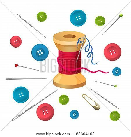Reel with threads or bobbin surrounded by pins and needles, buttons of big and small size vector illustration isolated on white. Accessories for sewing