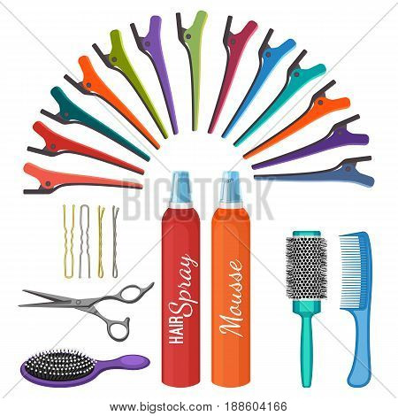 Set of hairdressing tools vector illustration isolated on white. Professional hair combs, scissors and sprays, bobby pins of different types