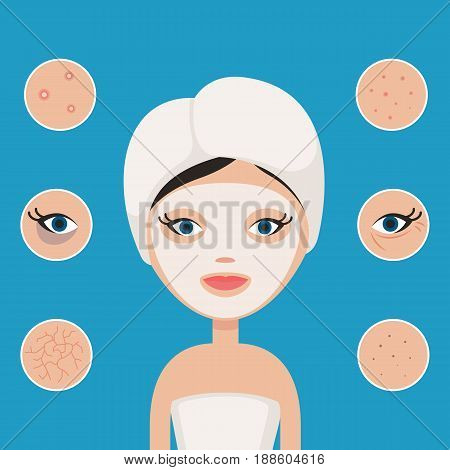 Woman in a beauty mask. Problems with skin: acne, blackheads, dryness, under eye circles, wrinkles, pimples. Vector illustration in flat style for design infographic poster