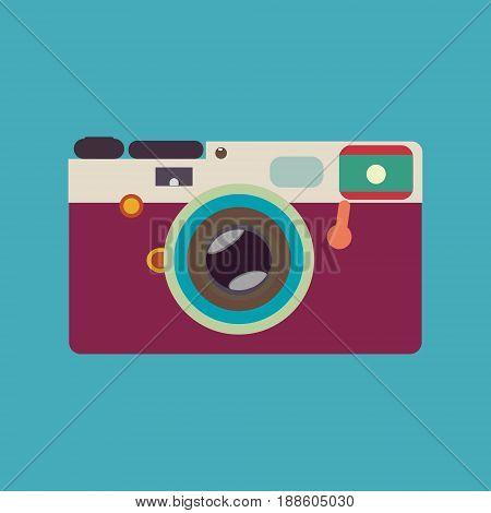 vintage rangefinder film camera colorful vector illustration