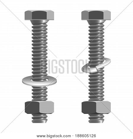 Bolts and nuts realistic vector illustration isolated on white. Type of fastener with threaded hole and used in conjunction with mating bolt to fasten multiple parts together.