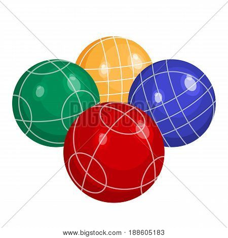 bocce balls made of metal or various kinds of plastic vector illustration isolated on white background. Bocci is a ball sport belonging to boules family