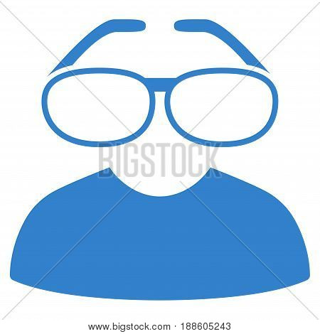 Cobalt Clever Spectacles interface toolbar pictogram. Vector pictogram style is a flat symbol on diagonal hatch transparent background.