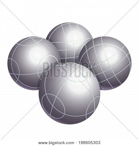 Colorless bocce balls made of metal or various kinds of plastic vector illustration isolated on white background. Bocci is a ball sport belonging to boules family