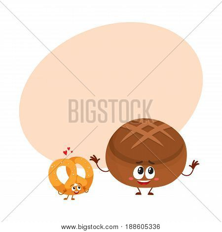 Couple of smiling German pretzel and brown bread, bakery characters, cartoon vector illustration with space for text. Crispy pretzel and round rye, brown bread loaf characters, mascots