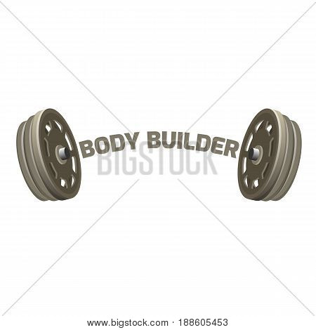 Bodybuilder logotype design with two dumbbells vector illustration isolated on white. Logo for bodybuilding studio or sport gym