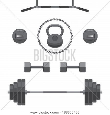 Set of equipment for GYM: kettlebell, barbell, weights, heavy balls, chain, horizontal bar. Workout icons. Vector illustration in flat style isolated on white background