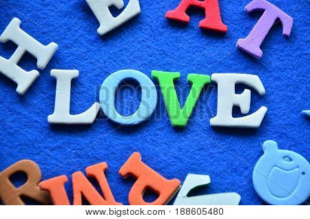 word love on a  abstract blue background