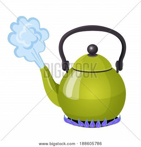Boiling water in aluminium kettle on gas flame realistic vector illustration. Stream from open kitchenware utensil, preparation of tea