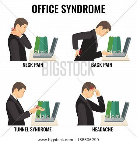 Office syndrome illnesses vector illustrations set on white. Man in suit has neck and back pain, tunnel syndromes and headache during work