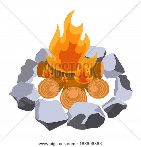 Firewood surrounded by stones vector illustration isolated on white. Campfire or bonfire symbols, burning trunks with flame