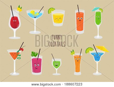 Set of funny cocktails. Colorful drinks in different glasses with straw. Vector illustration in cartoon style