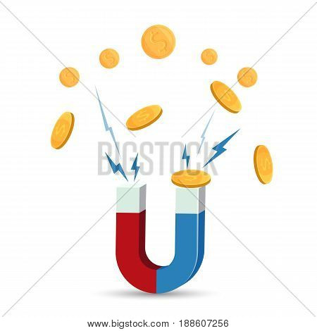 Magnet attracts gold coins vector illustration isolated on white. Bonus money concept, attraction of riches and profit logotype design